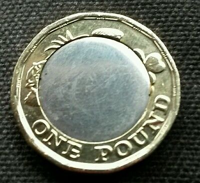 Error New £1 One Pound Coin 2017 Date 2016 Blank Rear Side