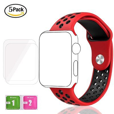 Apple Watch Strap 42mm RED/BLACK Silicone Digitek band + freebies
