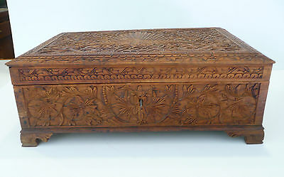 Antique Wooden Box Chest Peacock & Serpent Carved Detail key Lock Jewelry Cigar