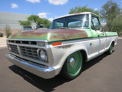"1973 Ford F-100 Ranger 390ci V8 A/C 20"" Detroit Steel Whls Lowered Patina 1972 1971 1970 1969 1974 1968"