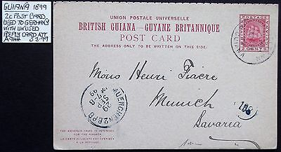 (A944) Guiana 1899 Pre paid 2c Card used to Germany with reply card attached.