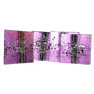 Glass Coasters Set Of 4 Cosmos Design Purple Black And Silver 10cm Square NEW