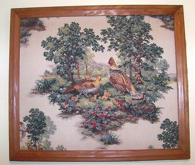 LARGE Vintage Hand Crafted Framed 3D Stuffed Textile Art Quail Family Woods Bird