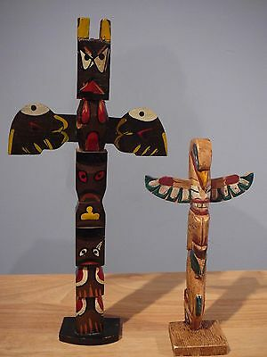"""14.5"""" Painted Wood Totem Pole & 9.75"""" Painted resin Totem Pole"""
