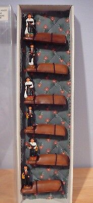 6 CERAMIC Hand Painted Place Card Holders CREATON SANTONS France