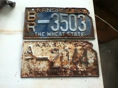 Lot of 2 Kansas Wheat State Vintage License Plates Tags Mixed States Rustic