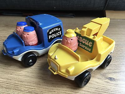 Vintage Weebles Police & Rescue Vehicles & 3 Weebles