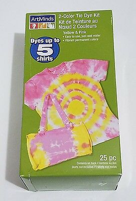 2 Color Tie Dyes Kit By ArtMinds Yellow Pink Up To 5 Shirts Just Add Water