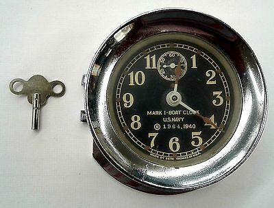 Seth Thomas U.s. Navy Mark I-Boat Clock, 1940 World War Ii, Original