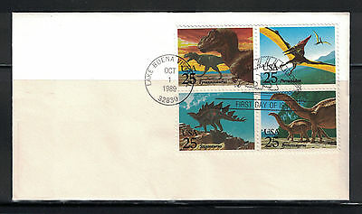 US 1989: #2425a Dinosaurs Blk 4 Used On AD FDC ;Lot#6/21