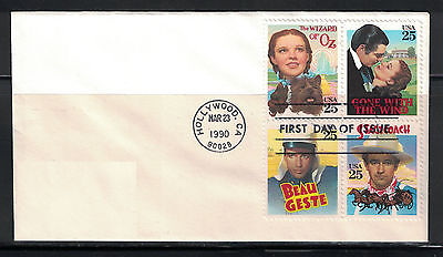 US 1990: #2448a Classic Films Blk 4 Used On AD FDC ;Lot#6/21
