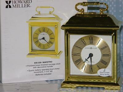 Howard Miller 645-229 Mastro Chime Clock, Polished Brass, Carriage, Dual Tone