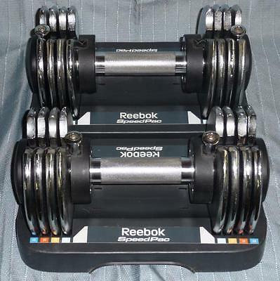 Set of 2 Adjustable Dumbbells Reebok Speed Pac 5 to 25 Each = Total 50lb
