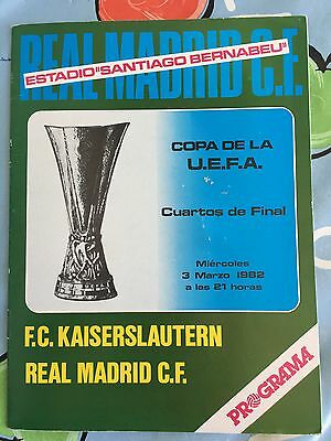 Programme Official Real Madrid Spain Kaiserslautern Germany Uefa Cup 1981 1982