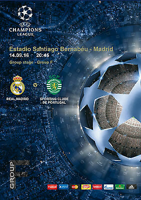 Program Pirate Real Madrid Sporting Portugal Uefa Champions League 2016 2017