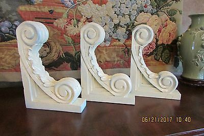 Lot of 3 Large Wood Corbels Shabby Cottage Chic Vintage Shabby Look