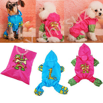 Cute Pet Rain coat Puppy Dogs Hoodie Jacket Casual Waterproof Dog Clothes