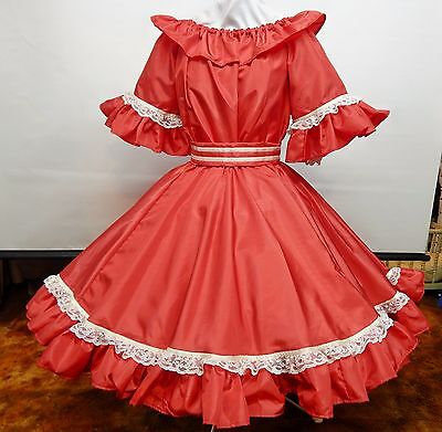 2 Pc Red Taffeta And Lace Square Dance Dress