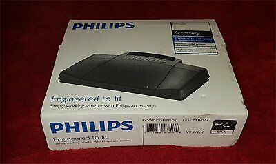 New Boxed Philips LFH2310 /00 Transcription Dictation Foot Pedal USB