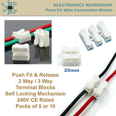 Push Fit Release Wiring Terminal Connectors Self Locking Quick Splice 2 / 3 Way