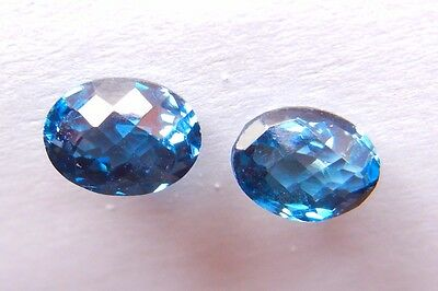 Matched Pair of 8X6mm London Blue Topaz with Fancy Checkerboard Cut AAA Quality