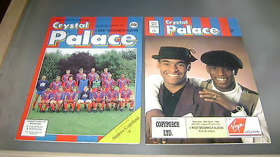 2 x crystal palace v west brom 87/88 and 88/89 div 2 programmes exc condition