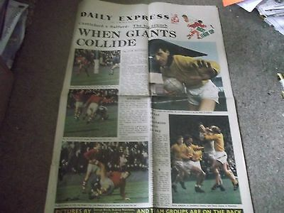 Vintage Daily Express 1969 Rugby League Challenge Cup Final Castleford V Salford