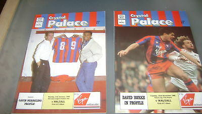 2 x crystal palace v walsall 88/89 div 2 and simod cup programmes exc condition