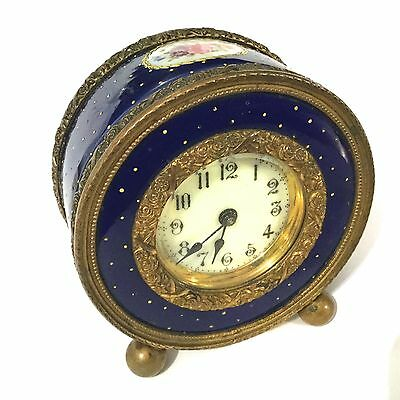 Antique French Bronze,porcelain Clock Hand Painted & Gold Decor,key Missing.