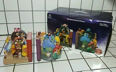 **RARE** WONDERFUL WORLD OF DISNEY SNOW BLOWING BOOK END GLOBES with box.