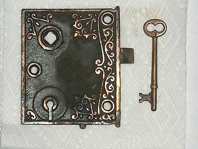 "Antique Chantrell Tool Co. Door Rim Lock 3 7/8"" x 3 3/16""     W/Key"