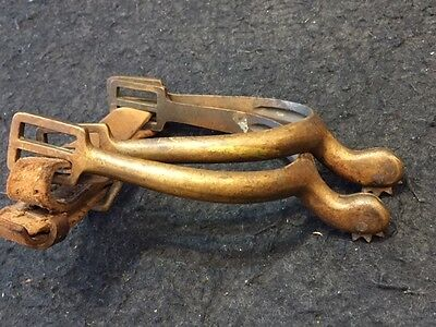 Two SIGNED Antique Spanish American-Indian War Brass Horse Boot Spurs w/ Rowels