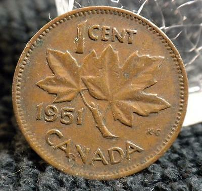 Vg 1951 One Cent Canadian Canada Small Penny 1¢ George Vi World Coin