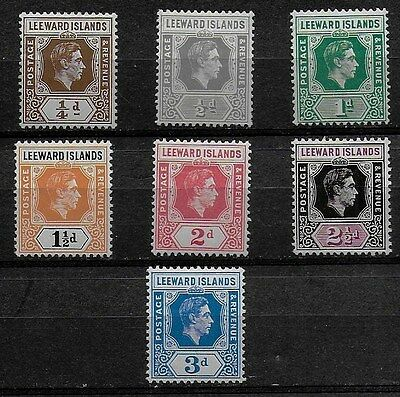 Leeward Islands 1938 KGVI Definitives SS to 3d - MH - chalky paper