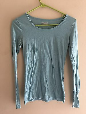 Charlotte Russe Size Medium Teal Blue Long Sleeve T Shirt Blouse Top Womens