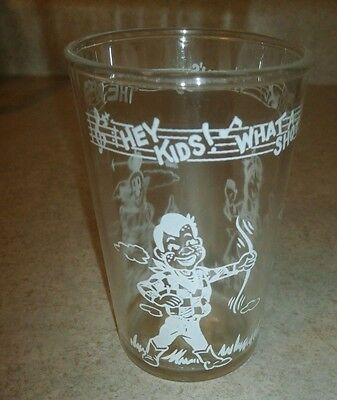 Vintage TV Howdy Doody Glass Welch's Hits The Spot 4-Inch Clear/White 1953 Good