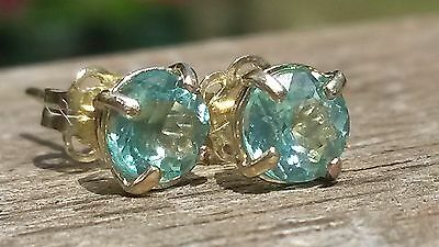 Natural paraiba tourmaline stud earrings in 9k gold