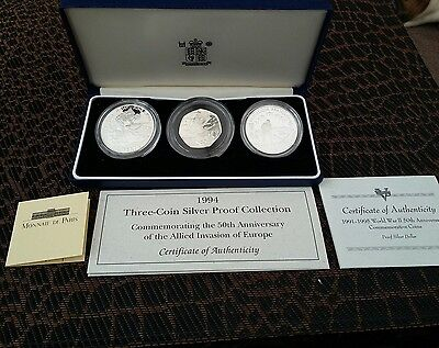 1994 ALLIED INVASION 50th ANNIVERSARY 3 COIN SILVER PROOF SET CASED & CERT