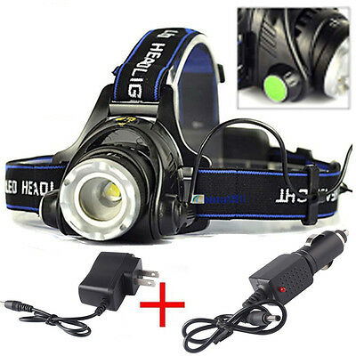 ZOOMable 5000LM XML T6 LED 18650 Headlamp Headlight+UK AC Charger+Car Charger
