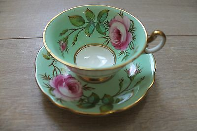 EB Foley bone china mint green large rose tea cup with gold, signed A. Taylor