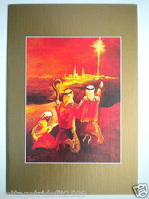 """VTG """"SHEPHERDS IN THE FIELDS"""" CHRISTMAS GREETING CARD ~J.May-Mouth Painter~#53/0"""