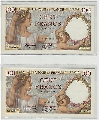 FRANCE. QUALITE'! 2 billets 100 Francs SULLY - NEUF UNC!! 29/01/1942 n° 596-597