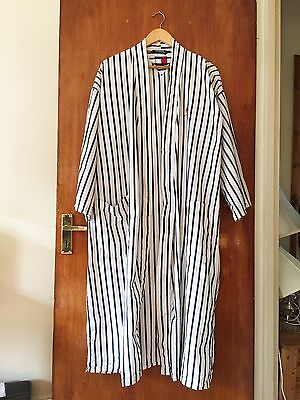 TOMMY HILFIGER Striped Bath Robe/Dressing Gown White/Navy Vintage Retro One size