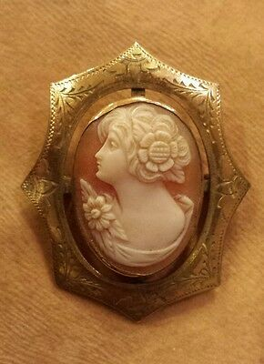 Antique Gold-Filled Handcarved Cameo Brooch, Unique Frame; Daisy and  Sunflower