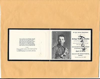 W.w.1 Remembrance Card George Charles Army Service Corps Killed In Action 1916
