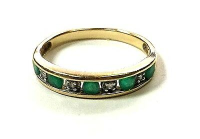 14K Solid Yellow Gold Emerald & Diamond Band Ring -size 7 (2.1 grams) NR