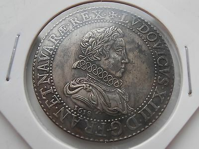 France - Rare Franc 1618 A, Paris. Louis 13th Restrike coin Collectable