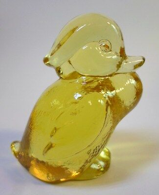 Vintage Glass STANDING WOOD DUCK FIGURINE Amber / Sunshine Yellow By IMPERIAL