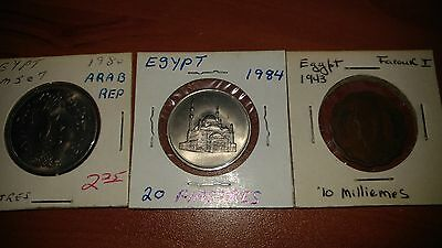 Lot of 3 Coins - EGYPT 1943, 1980, 1984