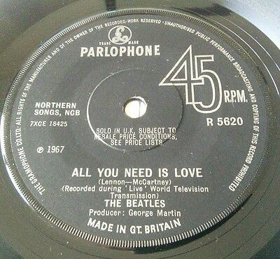 Beatles All You Need Is Love 1967 Parlophone R 5620  Single Ex -
